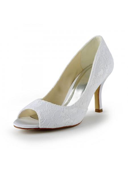 Women's Blonder Sateng Stiletto Heel Peep Toe Sandalerer Hvit Brudesko