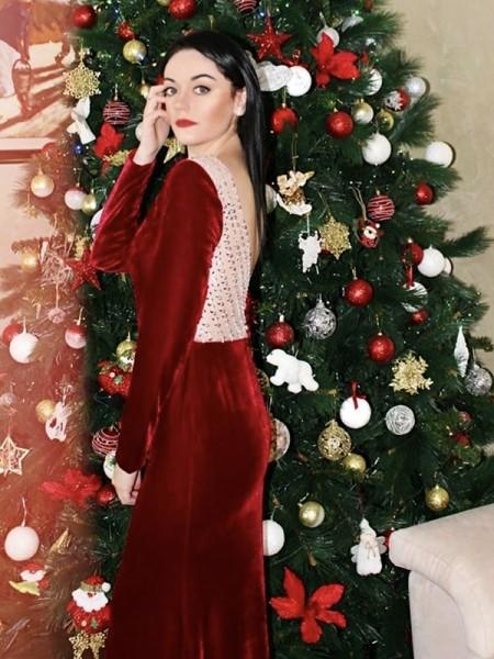 Sheath/Column Ruffles Velvet Jewel Long Sleeves Floor-Length Dresses
