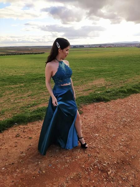 A-Line/Princess Elastic Woven Satin Halter Floor-Length Sleeveless Applique Two Piece Dresses