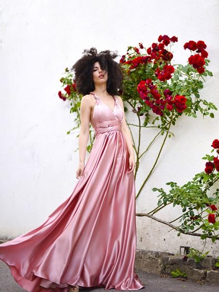 A-Line/Princess Silk like Satin Sleeveless Sash/Ribbon/Belt Spaghetti Straps Floor-Length Dresses