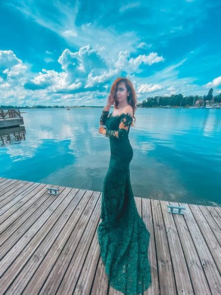 Trumpet/Mermaid Lace Ruffles Long Sleeves Off-the-Shoulder Sweep/Brush Train Dresses