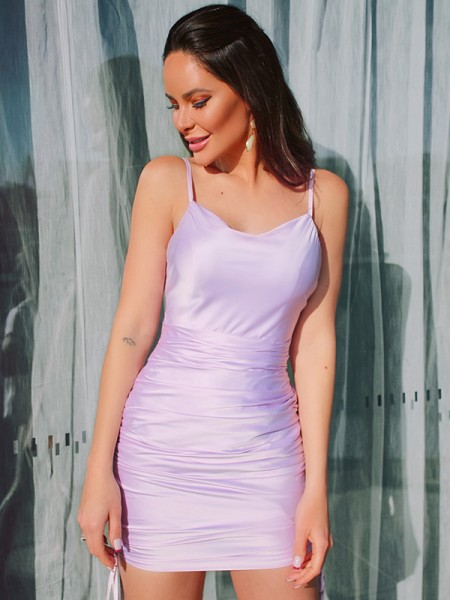 Sheath/Column Sleeveless Ruched Satin Spaghetti Straps Short/Mini Homecoming Dresses