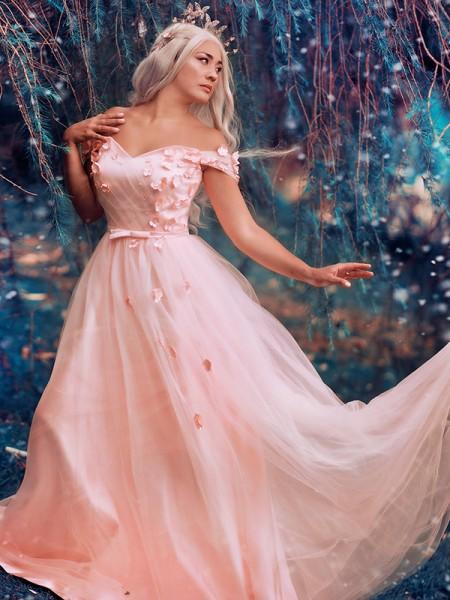 A-Line/Princess Off-the-Shoulder Applique Tulle Sleeveless Floor-Length Dresses