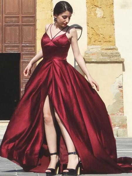 A-Line/Princess Satin Spaghetti Straps Sleeveless Ruffles Sweep/Brush Train Dresses