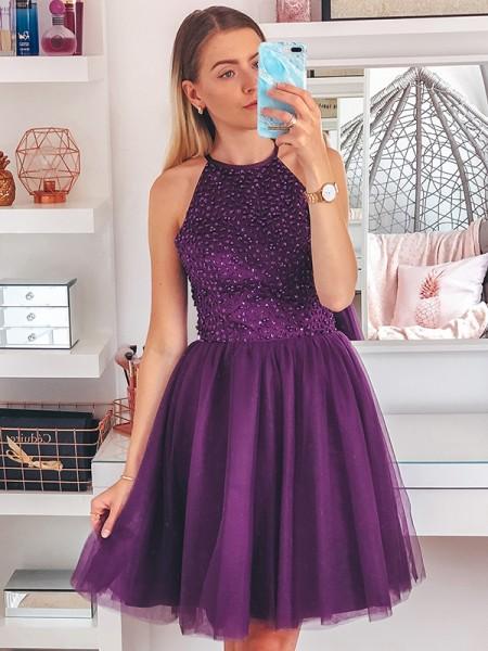 A-Line/Princess Sleeveless Beading Tulle Halter Short/Mini Homecoming Dresses