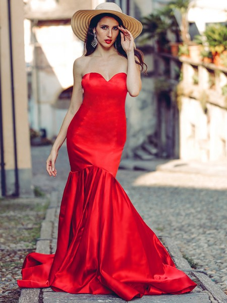 Trumpet/Mermaid Satin Sweetheart Sleeveless Ruffles Sweep/Brush Train Dresses
