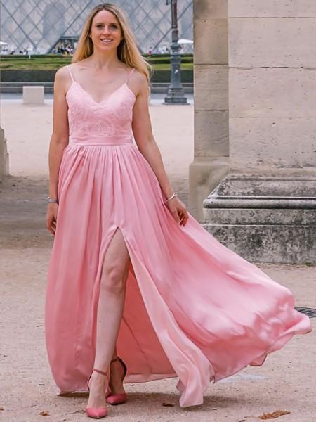 A-Line/Princess Spaghetti Straps Silk like Satin Applique Sleeveless Floor-Length Dresses