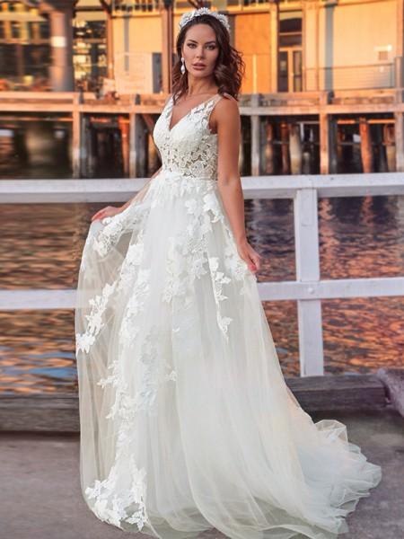 A-Line/Princess Tulle Sleeveless Applique V-neck Sweep/Brush Train Wedding Dresses