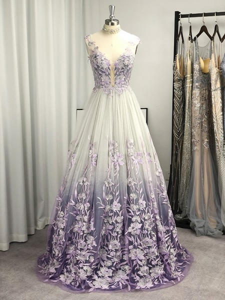 A-Line/Princess V-neck Tulle Applique Sleeveless Sweep/Brush Train Dresses