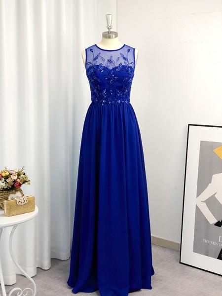 A-Line/Princess Chiffon Paillette Scoop Sleeveless Floor-Length Dresses