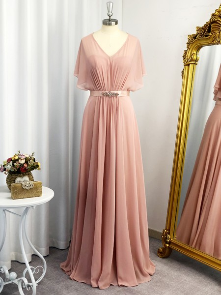 A-Line/Princess Sweetheart Short Sleeves Chiffon Sash/Ribbon/Belt Floor-Length Dresses