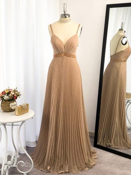 A-Line/Princess-Ruffles-Spaghetti Straps-Sleeveless-Floor-Length-Dresses