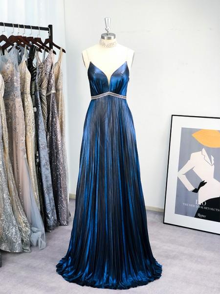 A-Line/Princess Floor-Length Spaghetti Straps Sleeveless Ruffles Dresses