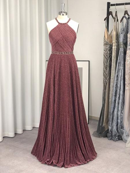 A-Line/Princess Sleeveless Ruffles Halter Floor-Length Dresses