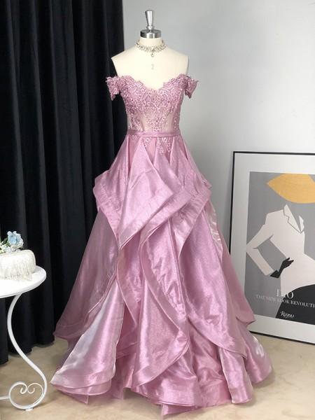 A-Line/Princess Satin Off-the-Shoulder Applique Sleeveless Floor-Length Dresses