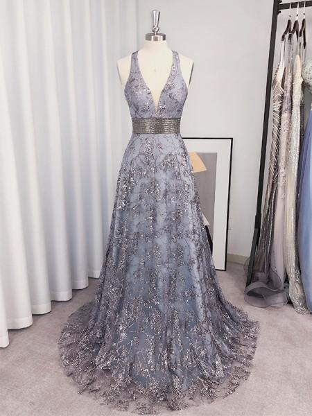 A-Line/Princess Halter Sleeveless Tulle Paillette Sweep/Brush Train Dresses