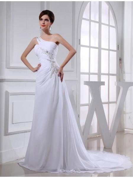 A-Linje/Prinsesse Perlebesydd En Skuldret Ermeløs Chiffong Applikasjoner Brudekjoler