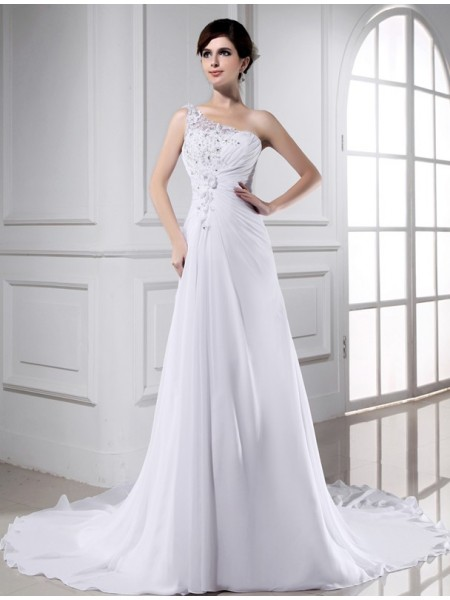 A-Linje/Prinsesse Perlebesydd En Skuldret Ermeløs Lange Chiffong Brudekjoler