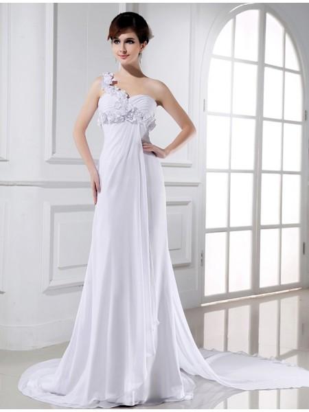 A-Linje/Prinsesse En Skuldret Perlebesydd Håndlaget blomst Ermeløs Chiffong Brudekjoler