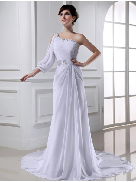 A-Linje/Prinsesse Perlebesydd En Skuldret One-sleeve Chiffong Brudekjoler