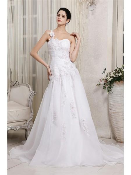 A-Linje/Prinsesse En Skuldret Ermeløs Perlebesydd Applikasjoner Lange Organza Brudekjoler