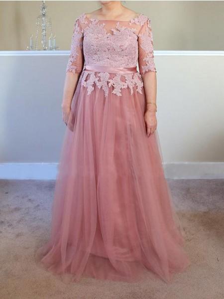 A-Linje/Prinsesse Båthals Tyll Halvlang Applikasjoner Gulvlengde Kjoler til Brudens Mor