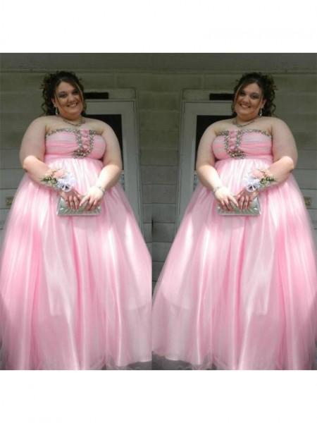 A-Linje/Prinsesse Sateng Stroppløs Ermeløs Perlebesydd Gulvlengde Pluss Størrelse Kjole