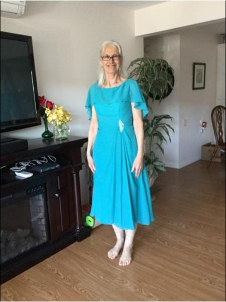 A-Linje/Prinsesse Scoop Te-lengde Chiffong Kort erme Perlebesydd Kjoler til Brudens Mor