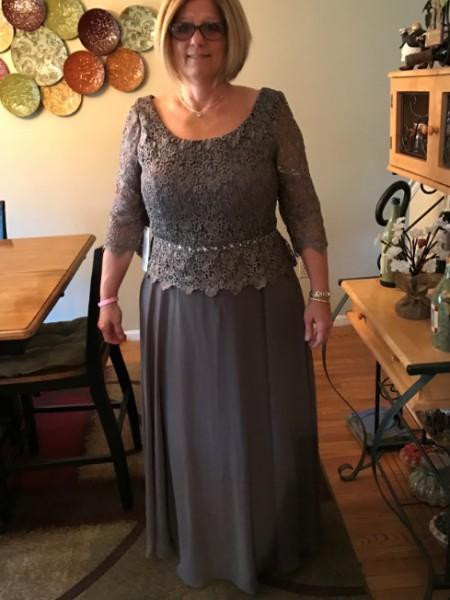 A-Linje/Prinsesse Chiffong Scoop 3/4 Ermer Blonder Gulvlengde Kjoler til Brudens Mor