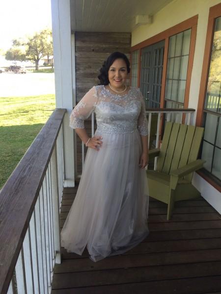 A-Linje/Prinsesse Tyll Scoop 3/4 Ermer Applikasjoner Gulvlengde Kjoler til Brudens Mor