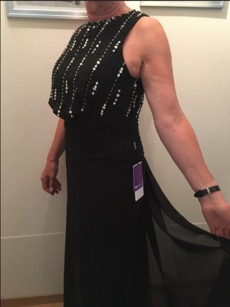 A-Linje/Prinsesse Scoop Chiffong Ermeløs Perlebesydd Gulvlengde Kjoler til Brudens Mor
