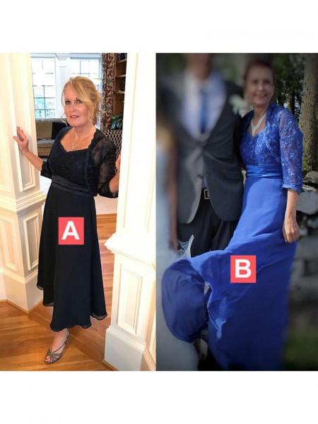 A-Linje/Prinsesse Stropper Ermeløs Gulvlengde Chiffong Applikasjoner Kjoler til Brudens Mor