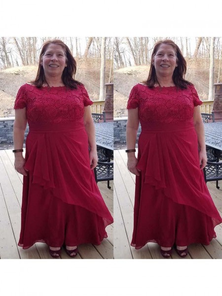 A-Linje/Prinsesse Chiffong Scoop Applikasjoner Gulvlengde Kjoler til Brudens Mor