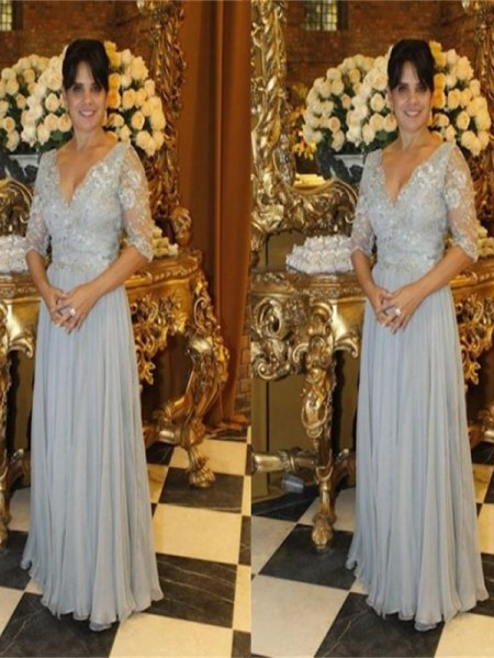 A-Linje/Prinsesse V-hals Chiffong Halvlang Applikasjoner Kjoler til Brudens Mor