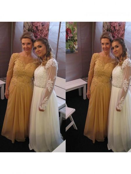 A-Linje/Prinsesse Chiffong Båthals Halvlang Applikasjoner Gulvlengde Kjoler til Brudens Mor