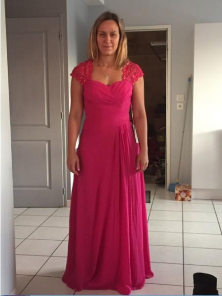 Kappe/Kolonne Sweetheart Gulvlengde Chiffong Ermeløs Perlebesydd Kjoler til Brudens Mor