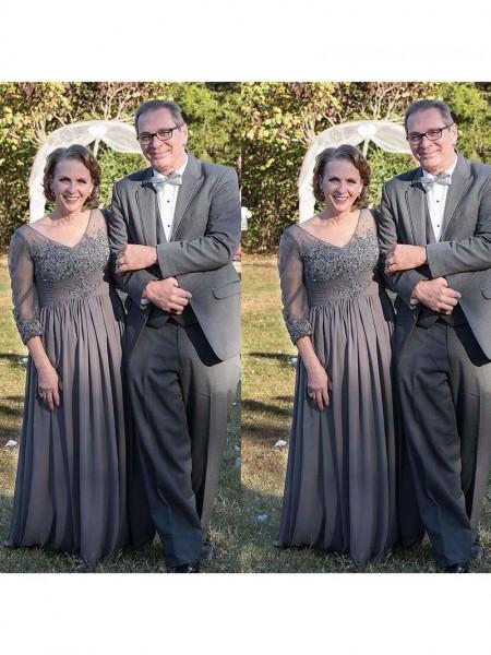 A-Linje/Prinsesse V-hals Chiffong 3/4 Ermer Applikasjoner Kjoler til Brudens Mor