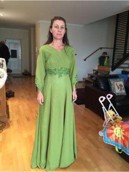 A-Linje/Prinsesse V-hals Chiffong Lange ermer Gulvlengde Kjoler til Brudens Mor