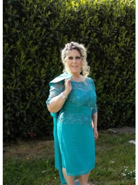 A-Linje/Prinsesse Sheer halsen Halvlang Chiffong Applikasjoner Knelengde Kjoler til Brudens Mor