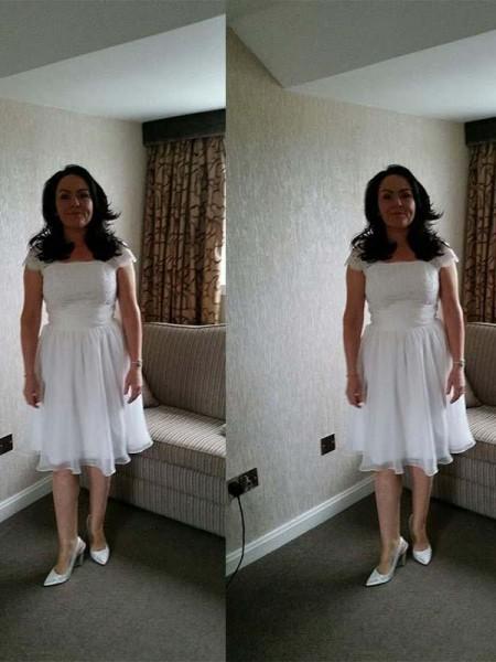 A-Linje/Prinsesse Stropper Ermeløs Chiffong Applikasjoner Knelengde Kjoler til Brudens Mor