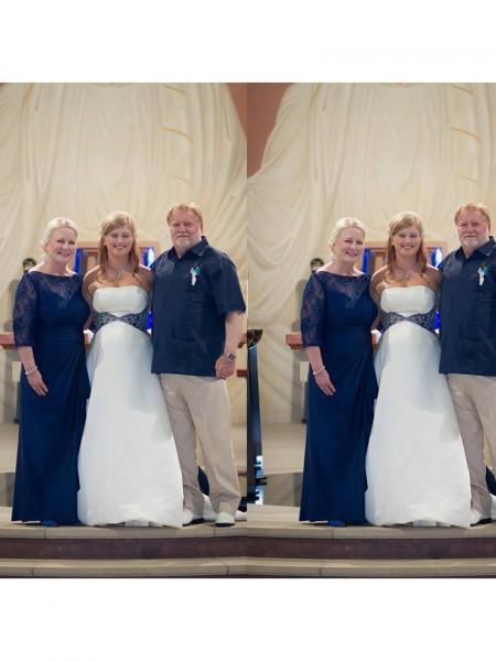 Kappe/Kolonne Chiffong Sheer halsen Halvlang Blonder Gulvlengde Kjoler til Brudens Mor