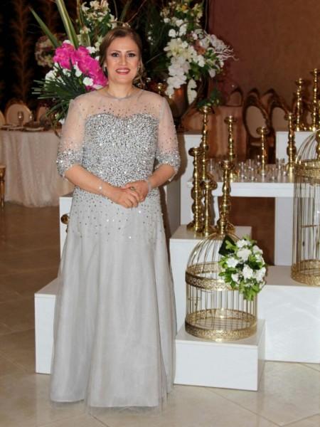 A-Linje/Prinsesse Sheer halsen Rhinestone Chiffong Halvlang Kjoler til Brudens Mor