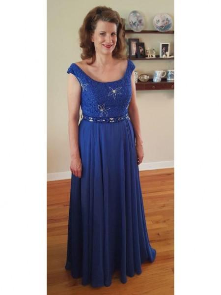 A-Linje/Prinsesse Scoop Chiffong Ermeløs Applikasjoner Gulvlengde Kjoler til Brudens Mor