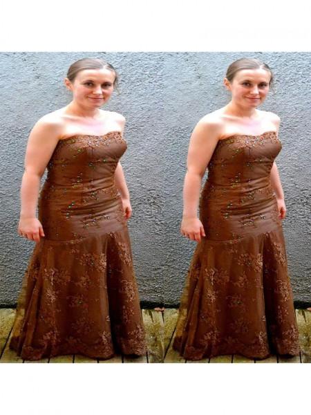 Kappe/Kolonne Stroppløs Ermeløs Blonder Applikasjoner Gulvlengde Kjoler til Brudens Mor