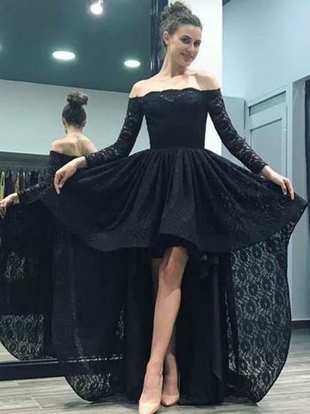 A-linje/Prinsesse Off-the-skulder Langermer Sweep Slep Asymmetrisk Blonder Kjoler