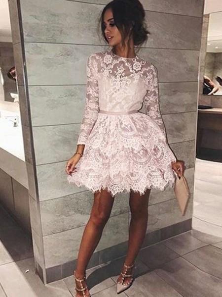 A-linje/Prinsesse Bateau Langermer Perlebesydd Blonder Kort/Mini Kjoler
