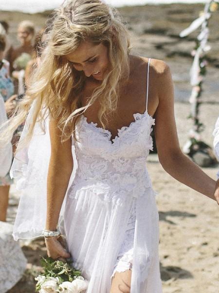 A-linje/Prinsesse V-hals Uten Ermer Applikasjoner Gulvlengde Chiffong Bryllupskjoler
