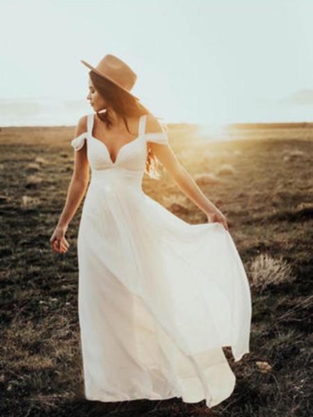 A-linje/Prinsesse Korte ermer V-hals Stropper Gulvlengde Frynse Chiffong Bryllupskjoler