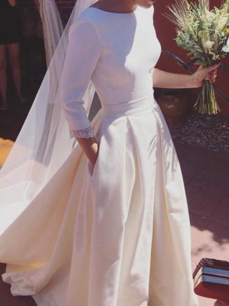 A-linje/Prinsesse 3/4 Ermer Kule Sweep Slep Frynse Sateng Bryllupskjoler