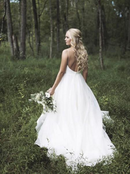 A-linje/Prinsesse Uten Ermer V-hals Spaghettistropper Court Slep Blonder Organza Bryllupskjoler